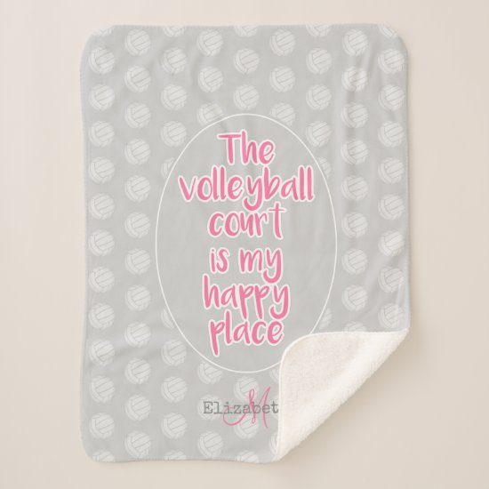 girls volleyball court my happy place typography sherpa blanket