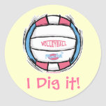 Girls Volleyball Gear by Mudge Studios Classic Round Sticker