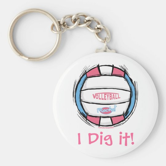 Girls Volleyball Gear by Mudge Studios Keychain