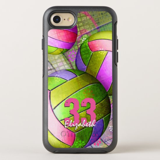 Girls volleyball hot pink purple yellow lime OtterBox symmetry iPhone SE/8/7 case