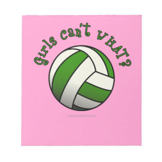 Girls Volleyball in Green Notepad