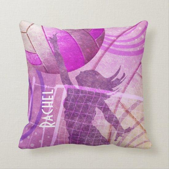 Girls' Volleyball Player at Net Throw Pillow
