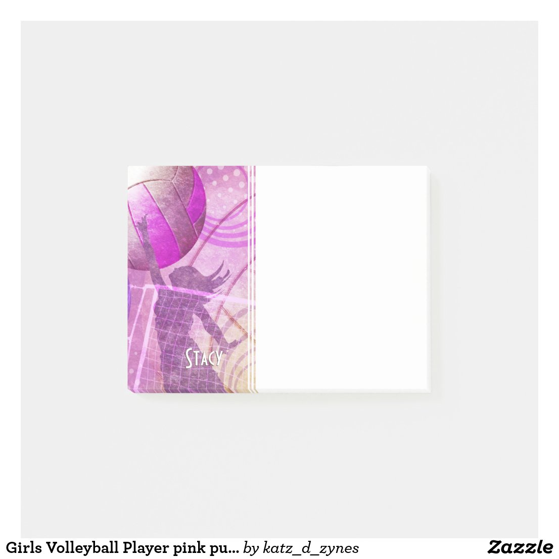 Girls volleyball  Post-it notes with custom name