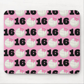 Girls Volleyball Player Uniform Number 16 Mouse Pad