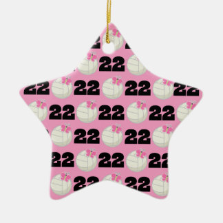 Girls Volleyball Player Uniform Number 22 Christmas Ornaments