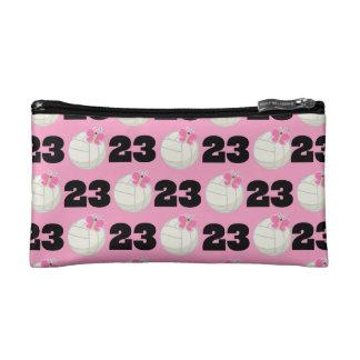 Girls Volleyball Player Uniform Number 23 Makeup Bag