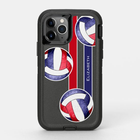 Girls' volleyball red white blue OtterBox defender iPhone 11 pro case