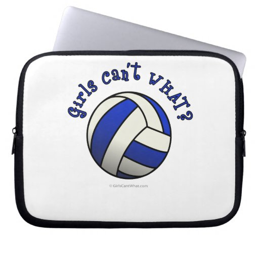 Girls Volleyball Team Gifts - Blue Laptop Computer Sleeves