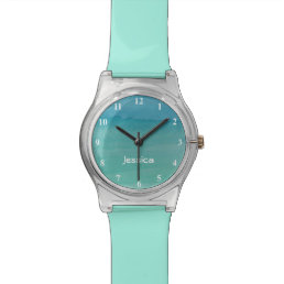 Girls watch aqua blue pastel watercolor painting