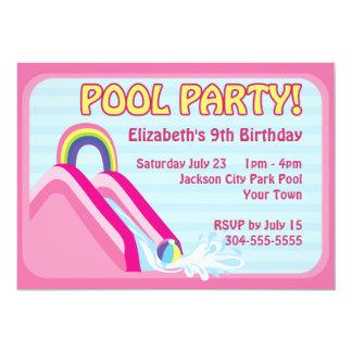 "Girls Water Slide Birthday 5"" X 7"" Invitation Card"