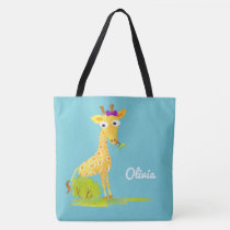 Girls Watercolor Giraffe Personalized Blue Animal Tote Bag