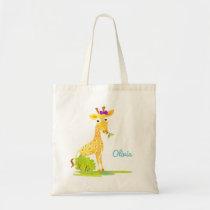 Girls Watercolor Giraffe Personalized Cute Animal Tote Bag