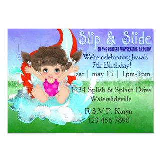 "Girls Waterslide Party Invitation 5"" X 7"" Invitation Card"