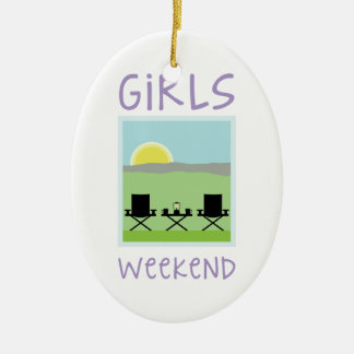 Girls Weekend Double-Sided Oval Ceramic Christmas Ornament