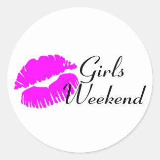 Girls Weekend (Pink Lips) Round Stickers