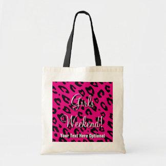Girls weekend tote bag   pink black leopard print