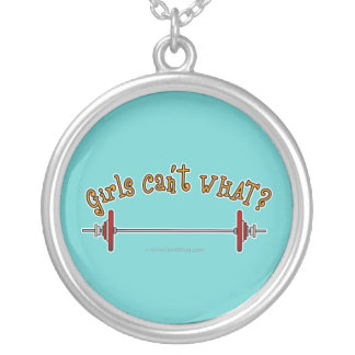 Girls Weightlifting Barbells Silver Plated Necklace