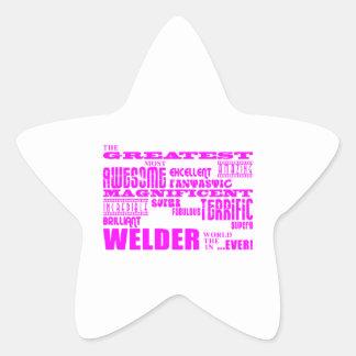 Girls Welders : Pink Greatest Welder Star Sticker