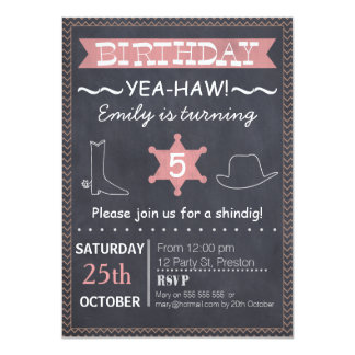 Girls Western Chalkboard Birthday Invitation