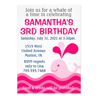 Girl's Whale Pink Birthday Party Invitation