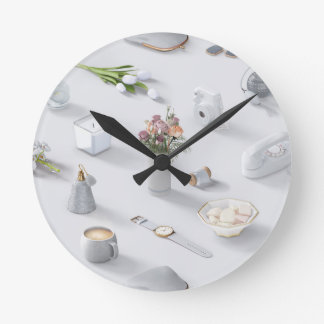 Girl's White Dream Round Clock