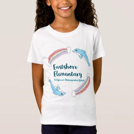 Girls' White Rainbow Dolphin T-Shirt