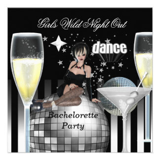 Girls Wild Night Out Champagne Personalized Invites