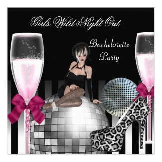 Girls Wild Night Out Shoes Champagne Custom Invite