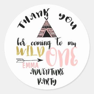 Girls Wild One 1st Birthday Thank You Sticker