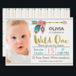 """Girls Wild One Arrow 1st Birthday Invitation<br><div class=""""desc"""">This girl&#39;s wild one 1st birthday invitation features some faux gold text, some arrows, two feathers and some simple dividers on an off white background. I&#39;ve also included a simple diamond shaped border at the top and base of the design. Your little girl&#39;s photograph appears on the left hand side...</div>"""