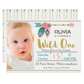 Girls Wild One Arrow 1st Birthday Invitation
