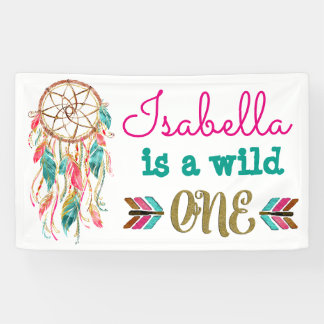 Girls Wild One Birthday Banner Tribal 1st Birthday