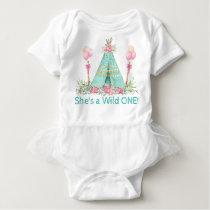 Girls Wild One Teepee 1st Birthday Shirt