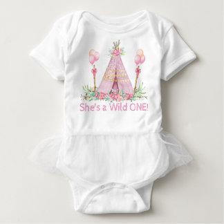 Girls Wild One Teepee First Birthday Shirt