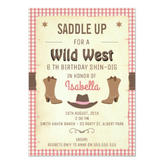 Girls Wild West Birthday Party Invitation