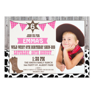 Girls Wild West Cowgirl Photo Birthday Invitation