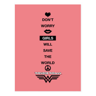 Girls Will Save The World Wonder Woman Graphic Postcard