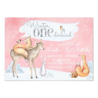 Girls Winter ONEderland Woodland First Birthday Card