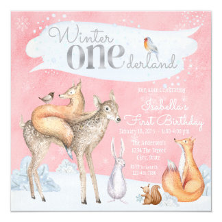 Girls Winter Onederland Woodland First Birthday Card