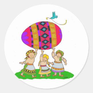 Girls with a Pysanka Classic Round Sticker