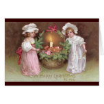 Girls with Basket of Christmas Cookies Vintage Cards