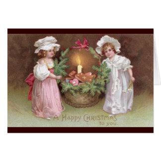 Girls with Basket of Christmas Cookies Vintage Greeting Card