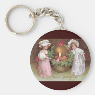 Girls with Basket of Christmas Cookies Vintage Keychain