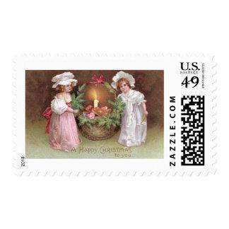 Girls with Basket of Christmas Cookies Vintage Postage