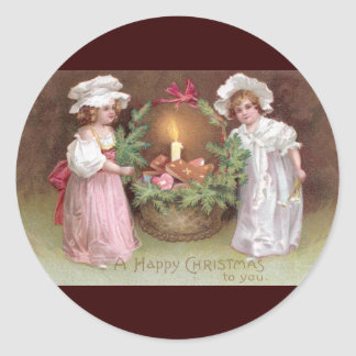 Girls with Basket of Christmas Cookies Vintage Round Stickers