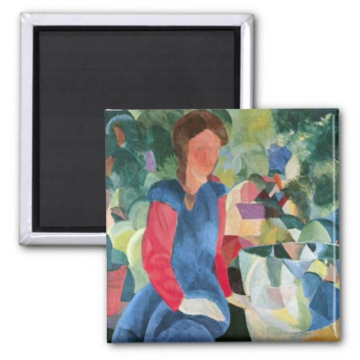 Girls with fish bell by August Macke Magnets