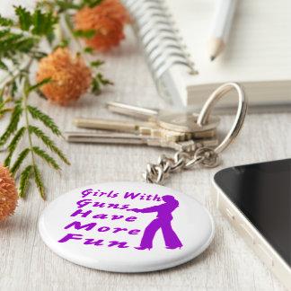 Girls With Guns Have More Fun 2 Basic Round Button Keychain