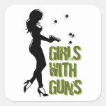 Girls With Guns Sqaure Sticker