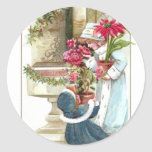 Girls with Potted Plants Vintage Christmas Classic Round Sticker