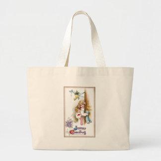 Girls with Stockings Peer 'Round Door Vintage Xmas Canvas Bag